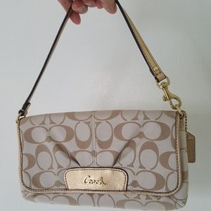 Coach Signature Sateen Large Flap Wristlet